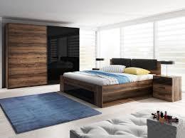 Schlafzimmer Set Bett 160x200cm Monastery Eiche Schwarz Hochglanz