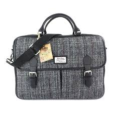 berneray large harris tweed leather briefcase