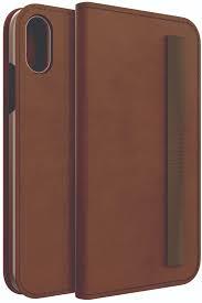 blackweb brown leather folio with elastic closure storage for iphone xs max com