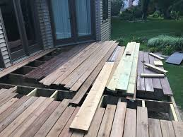 install new deck boards may june 2018 ripped out half of old deck and installed ac2 cedartone deck boards diy deck renovation