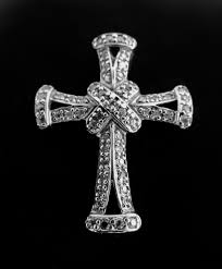 vintage 925 sterling silver cross necklace pendant jewellery with glass stones
