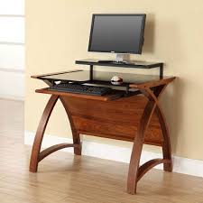 image of the jual curve pc201 900 wb small computer desk in walnut and