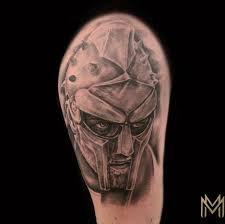 Painted Temple Tattoos Matt Morrison Black And Gray Gladiator