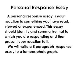 English 10 Grammar Writing 21 Mr Rinka Personal Response Essay