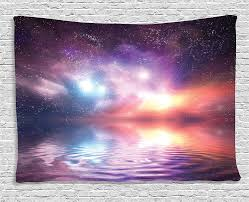 Purple Pink Northern Lights Ambesonne Apartment Decor Collection Ocean Under Northern Lights Galaxy Milky Way Mystical Dark Cosmos Reflection Planet Photo Bedroom Living Room