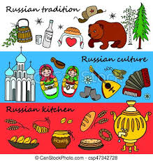 russian symbols travel russia russian traditions set of  russian symbols travel russia russian traditions vector