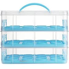 36 Cupcake Carrier Cool VonShef Snap And Stack Blue 60 Tier Cupcake Holder Cake Carrier