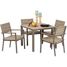 square dining set 5 piece set all weather steel powder coated frame with neutral beige water resistant cushions dining table patio backyard pool