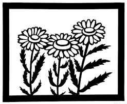 無料の切り絵の図案 花ノースポール編難易度初級