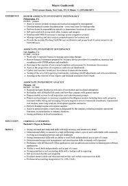 Associate Investment Resume Samples Velvet Jobs