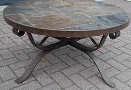 coffee table small round wrought iron base oval coffee table with stone top