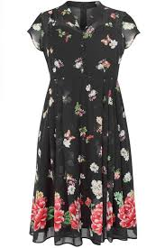 Hell Bunny Black Floral Butterfly Chiffon Jolie Papillon Dress Plus Size 16 To 32