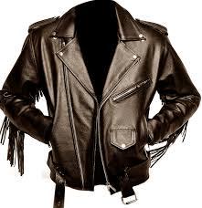 reclaimed vintage leather biker jacket with fringing