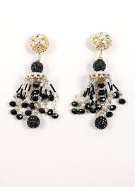 black chandelier clip on earrings black and gold toned bead and rhinestone chandelier earrings black chandelier