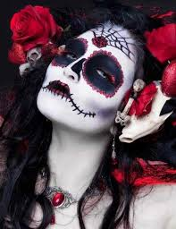 gorgeous jeweled day of the dead makeup i love the red roses and skulls in her hair 12 day of the dead makeup finds