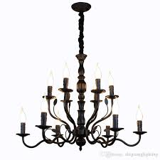 luxury rustic wrought iron chandelier e14 candle black vintage antique home chandeliers for living room european lamp ceiling light fixtures kitchen pendant