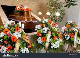Flower Decoration Design Funeral Hall Wooden Coffin Flower Decoration Stock Photo 100 14