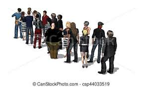 waiting in line. Simple Line People Waiting In Line  Isolated On White Background 3d Illustration Throughout H