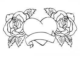 Small Picture Coloring Page Pages Of Roses And Hearts Design Peruclass