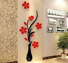3d flower wall decor flower wall decor red flower and black vase 3d acrylic flower wall 3d flower wall decor