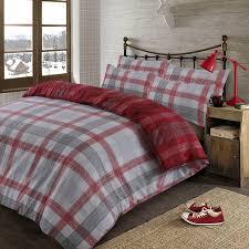 dreamscene boston brushed cotton super king duvet cover set red