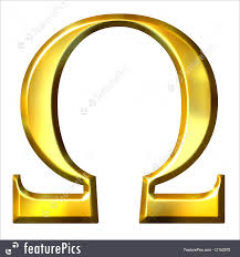letters and numbers 3d golden greek letter omega isolated in white
