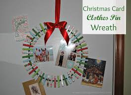 Christmas Card Display Stand Card Clothes Pin Wreath 11