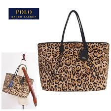 ralph lauren polo lady s leather animal pattern tote bag black polo by ralph lauren bag