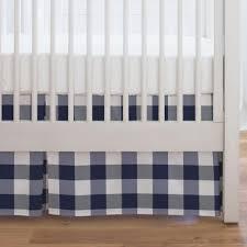 navy and white buffalo check crib skirt single pleat