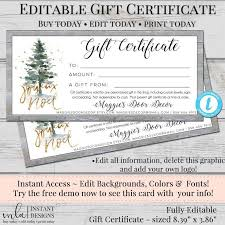 Store Gift Certificate Template Editable Gift Certificate Template Diy Gift Certificate Store
