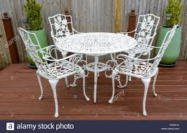 white cast iron patio furniture. Interesting Cast White Cast Iron Garden Table And Chairs In A Back Garden  Stock Image In Cast Iron Patio Furniture D