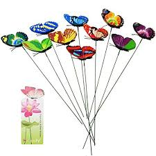 garden statues amazon uk. homgaty 7cm 10pcs colourful garden butterflies on sticks plant decoration craft with butterfly bookmark statues amazon uk n