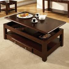 dark brown rectangle antique lift top cherry wood coffee table with storage and shelf designs ideas
