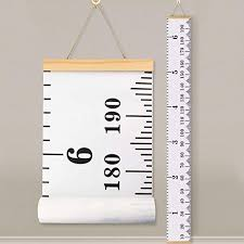 Baby Height Growth Chart Ruler Kinbon Kids Roll Up Canvas Height Chart Removable Wall Hanging Measurement Chart Wall Decor With Wood Frame For Kids