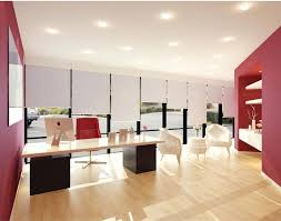office space decor. Matching Clay With Red Gives The Space A Solid Foundation Plus Creative Spark, Which Is Office Decor