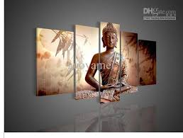 5 panel wall art religion buddha oil painting on canvas office decor artwork artwork for office walls