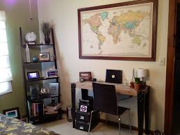 home office world. bedroomstunning small home office travel themes decor with ladder shelves plus large framed wall world