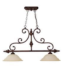 filament design 2 light burnished bronze island lighting fixture with mist scavo glass