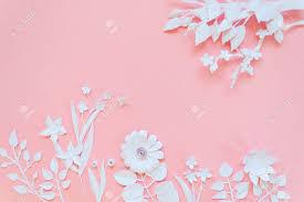 stock photo white paper flowers wallpaper on pink background spring summer background fl design elements
