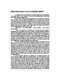 what makes henry v such an effective leader gcse english  page 1 zoom in