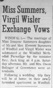 Imogene Summers & Virgil Wisler Wedding Announcement - Newspapers.com