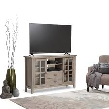WYNDENHALL Stratford Tall Distressed Grey TV Media Stand For TVu0026x27s Up To Distressed Tv Stand D81