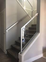 metal interior stair railing glass silver modern
