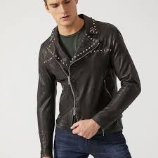 new emporio armani mens leather biker jacket