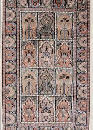wool silk handmade area rug with geometric design for foyer