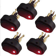 30 amp toggle switch hotsystem 5x red led light 12v 30amp 30a car boat auto rocker spst toggle switch