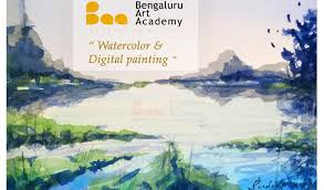 free work on water colour and digital painting with sudeep n p and satish m