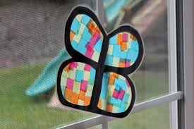 tissue paper stained glass erfly craft