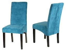 com cortesi home monty microfiber dining chair blue set of 2 chairs