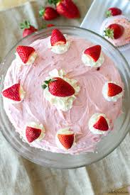 Vanilla Cake With Strawberry Buttercream A Latte Food